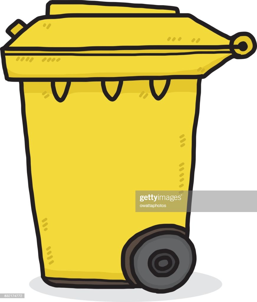 yellow trash bin
