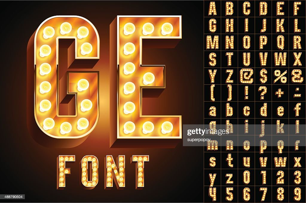 Yellow ultimate realistic lamp board alphabet