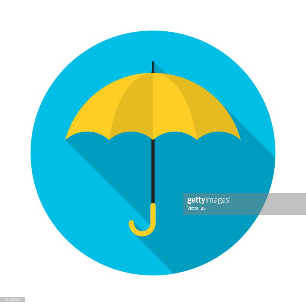 Yellow umbrella circle icon with long shadow. Flat design style. Umbrella simple silhouette.