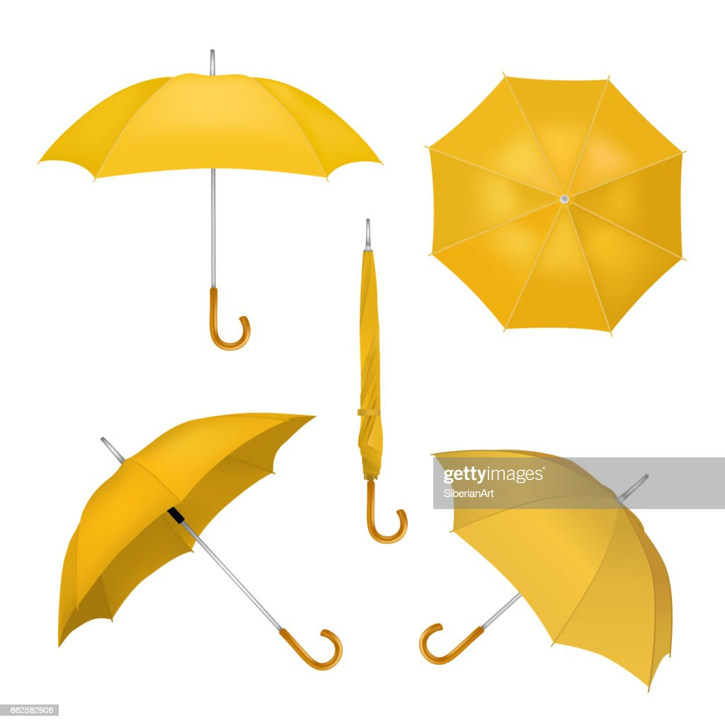 Yellow umbrellas vector realistic illustration