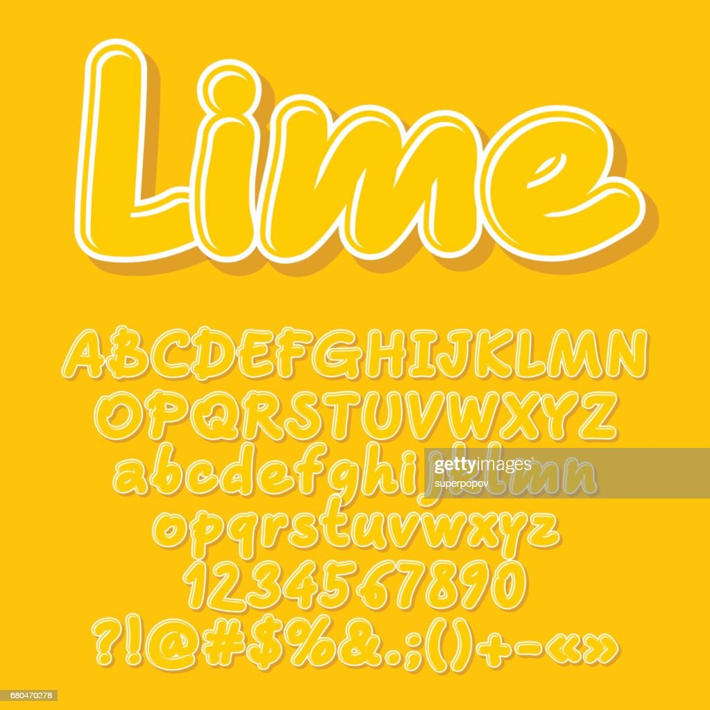 Yellow Vector Letters Numbers Symbols Vector Art Getty Images