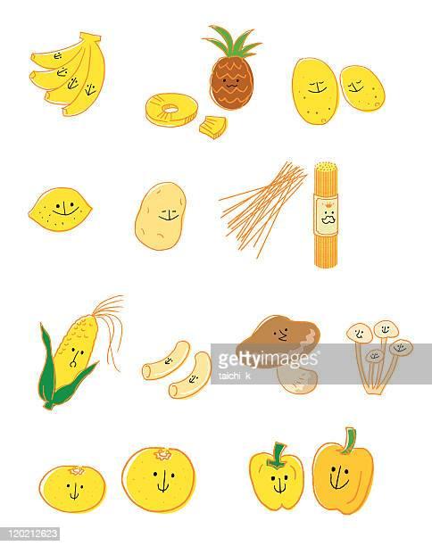黄色の野菜と果物