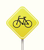 Yellow warning isolated road sign with bicycle vector