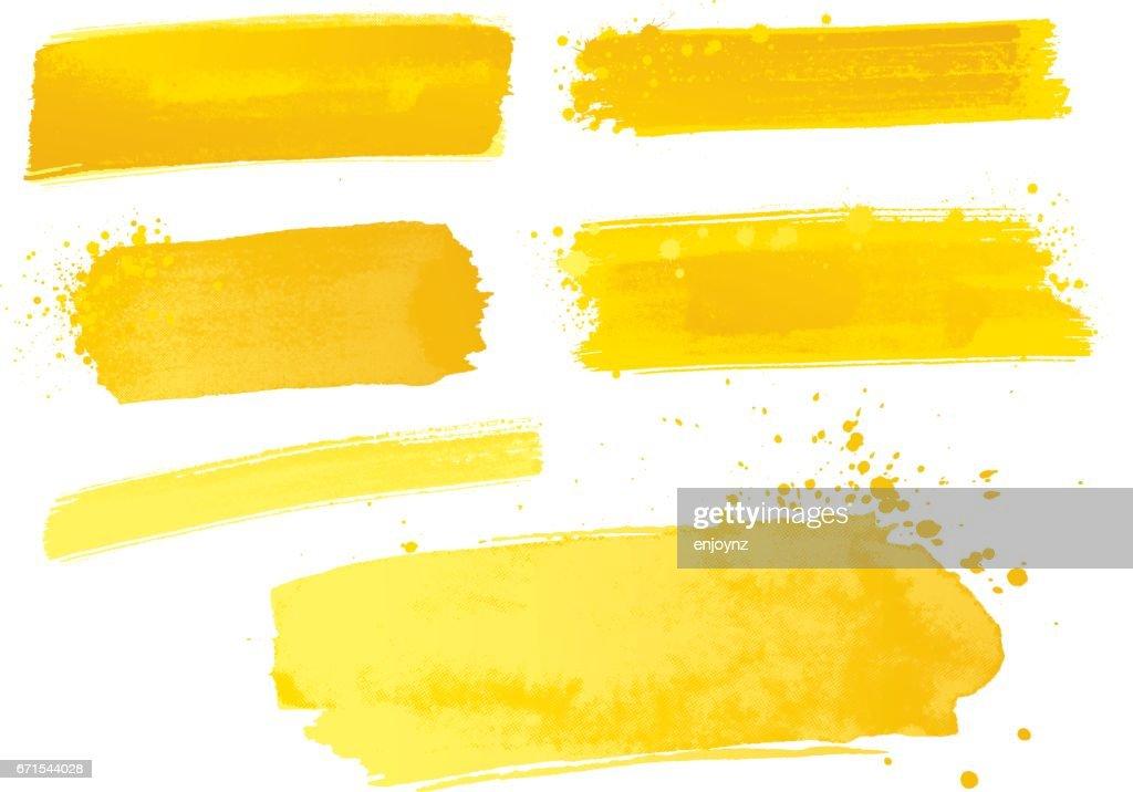 Yellow watercolor paint strokes : stock illustration