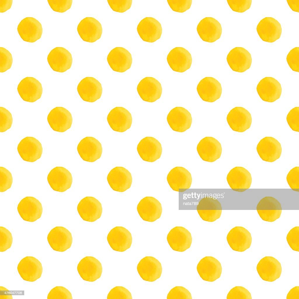 Yellow Watercolor Seamless Texture With Polka Dots