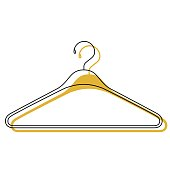 yellow watercolor silhouette of clothes hanger icon