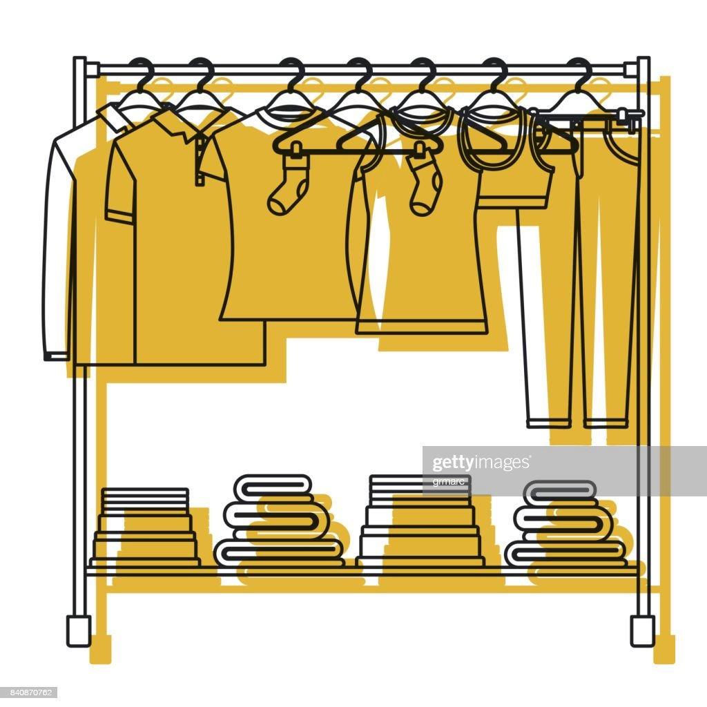 yellow watercolor silhouette of clothes rack with t-shirts and pants on hangers and fold clothes on bottom