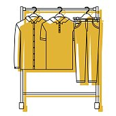 yellow watercolor silhouette of male clothes rack with shirts and pants on hangers
