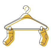 yellow watercolor silhouette of pair of socks in clothes hanger