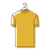 yellow watercolor silhouette of t-shirt man in hanger