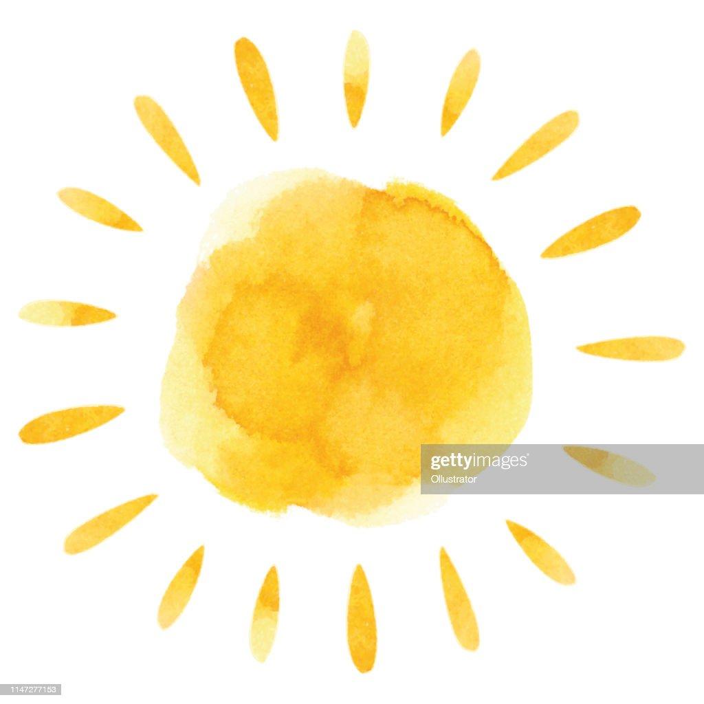 Yellow watercolor sun : Stock Illustration