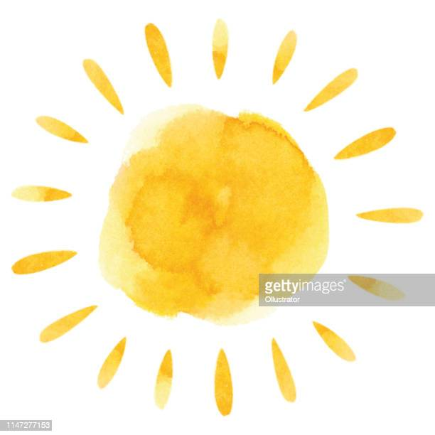 yellow watercolor sun - shiny stock illustrations