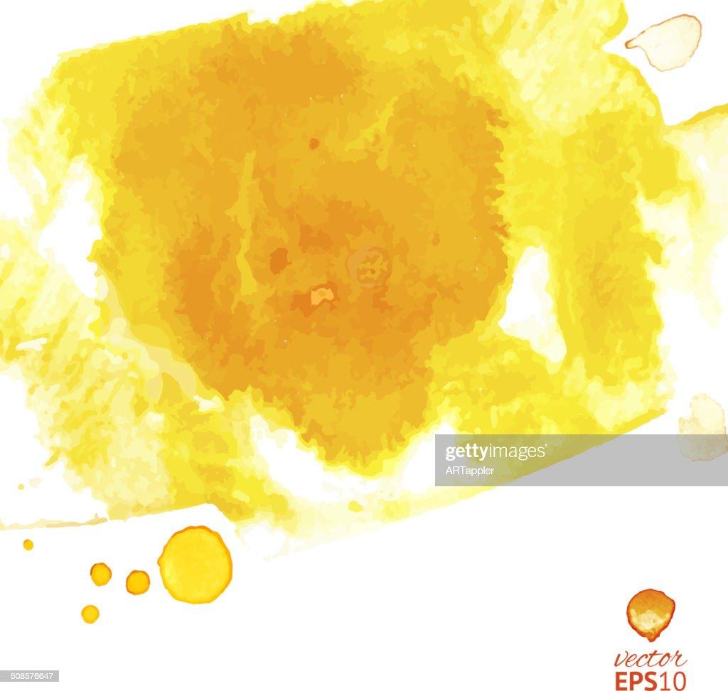 Yellow watercolor vector splash abstract background : Vectorkunst