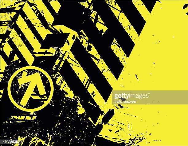 ilustraciones, imágenes clip art, dibujos animados e iconos de stock de grunge fondo amarillo/negro - cuarentena
