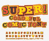 Yellow-red comic font, alphabet. Comics book, pop art