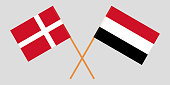 Yemen and Denmark. The Yemeni and Danish flags. Official colors. Correct proportion. Vector