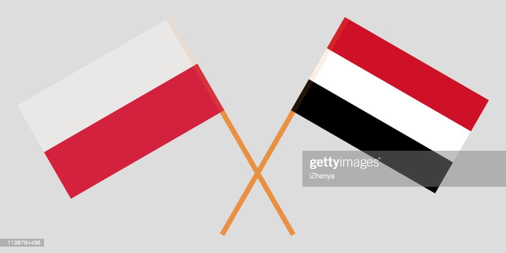 Yemen and Poland. The Yemeni and Polish flags. Official colors. Correct proportion. Vector