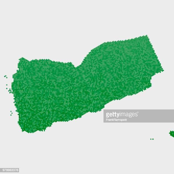 Jemen-Land-Map-grünen Sechseck-Muster
