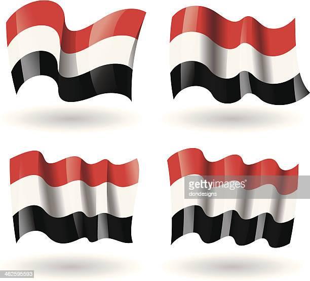 yemen flag waving set - yemen stock illustrations, clip art, cartoons, & icons