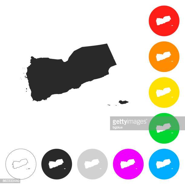 yemen map - flat icons on different color buttons - yemen stock illustrations, clip art, cartoons, & icons