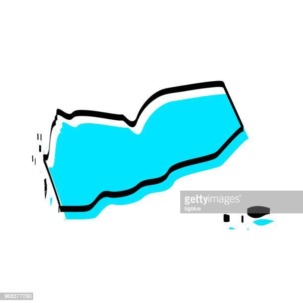 yemen map hand drawn on white background, trendy design - yemen stock illustrations, clip art, cartoons, & icons