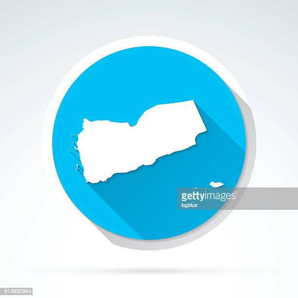 yemen map icon, flat design, long shadow - yemen stock illustrations, clip art, cartoons, & icons