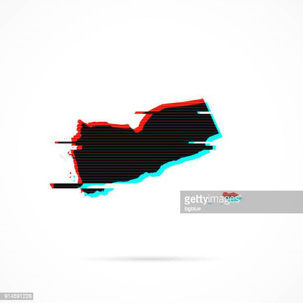 yemen map in distorted glitch style. modern trendy effect - yemen stock illustrations, clip art, cartoons, & icons