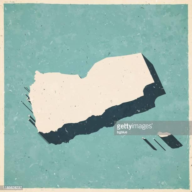 レトロなヴィンテージスタイルでイエメンのマップ - 古いテクスチャ紙 - イエメン点のイラスト素材/クリップアート素材/マンガ素材/アイコン素材