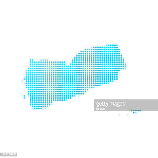 yemen map of blue dots on white background - yemen stock illustrations, clip art, cartoons, & icons