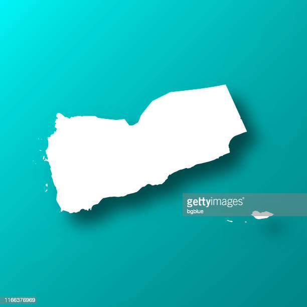 yemen map on blue green background with shadow - yemen stock illustrations, clip art, cartoons, & icons