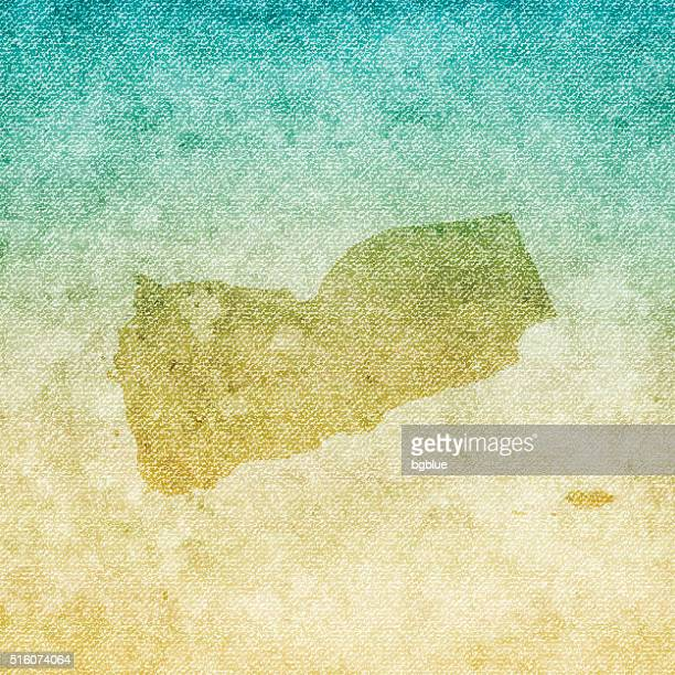 yemen map on grunge canvas background - yemen stock illustrations, clip art, cartoons, & icons