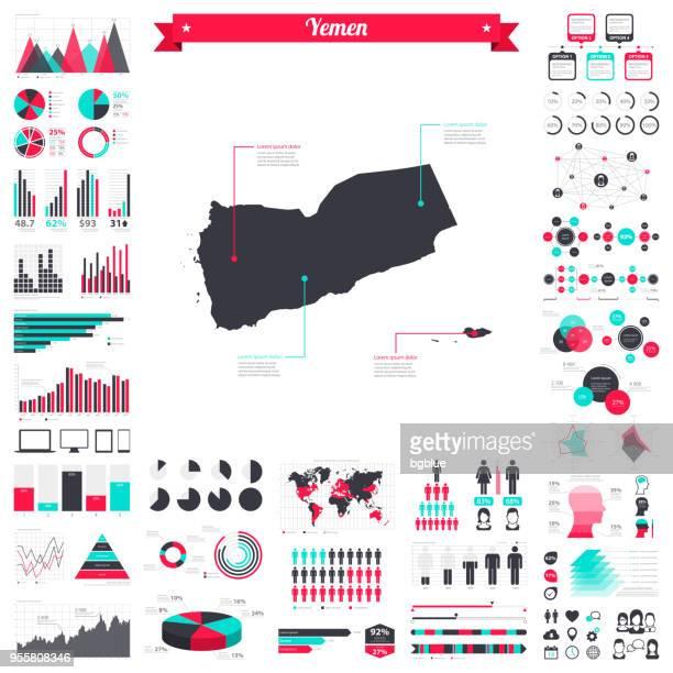 yemen map with infographic elements - big creative graphic set - yemen stock illustrations, clip art, cartoons, & icons