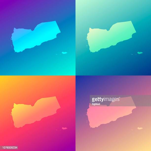 yemen maps with colorful gradients - trendy background - yemen stock illustrations, clip art, cartoons, & icons