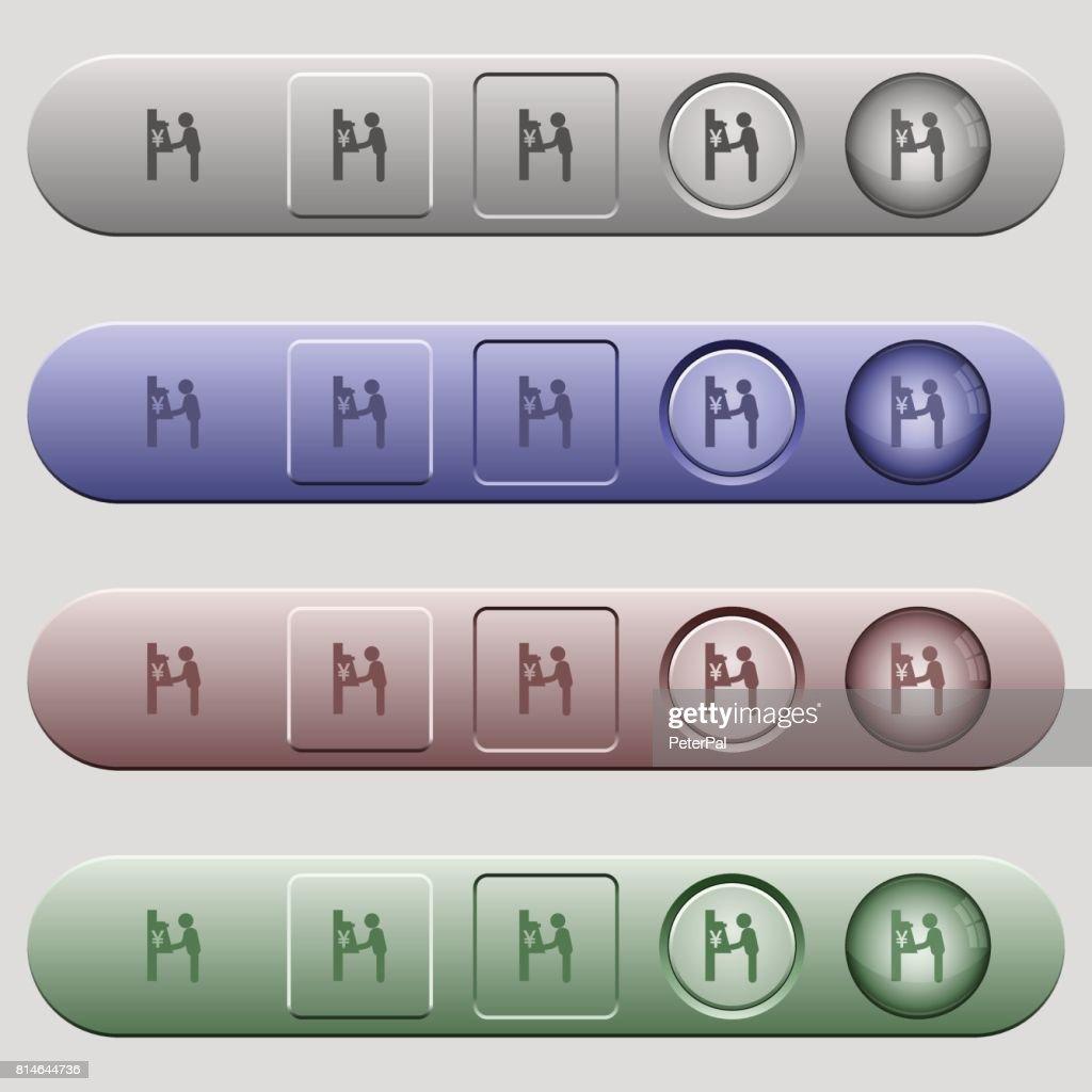 Yen cash machine icons on horizontal menu bars