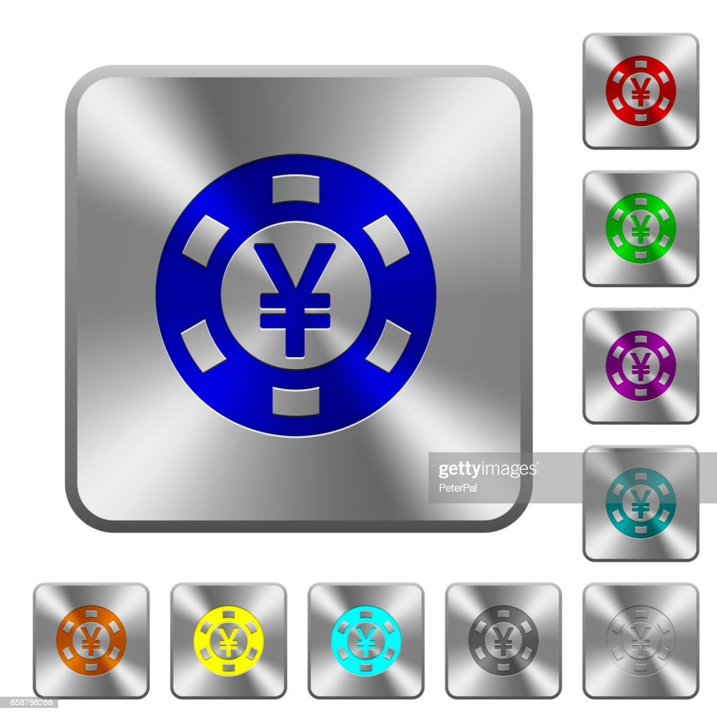 Yen casino chip rounded square steel buttons