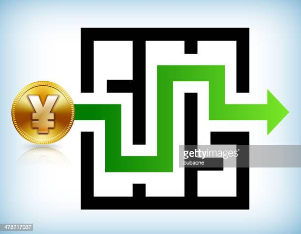 yen coin labyrinth to success - fiscal year stock illustrations