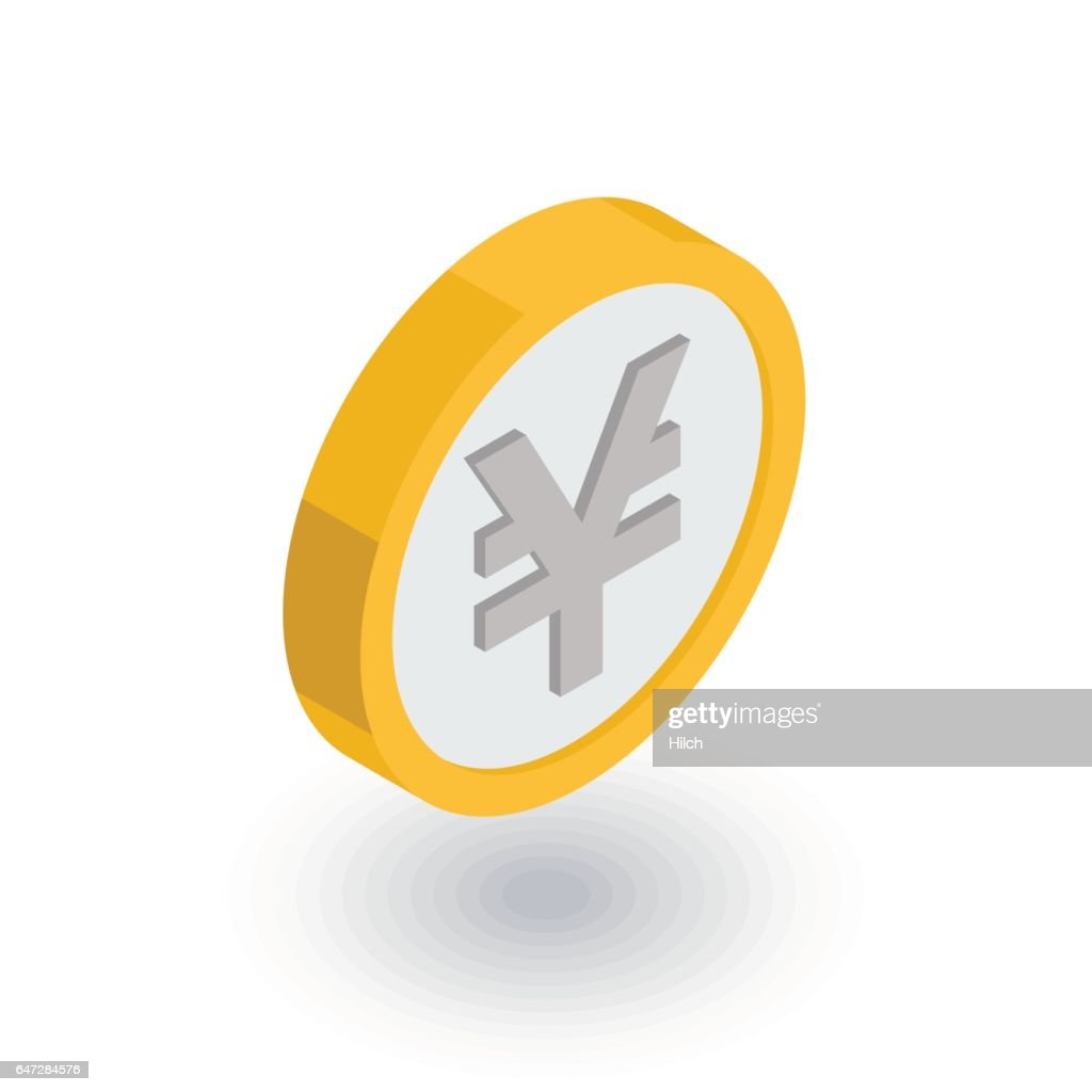 yen coin, money, finance, currency isometric flat icon. 3d vector
