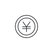 yen coin, money, finance, currency thin line icon. Linear vector symbol