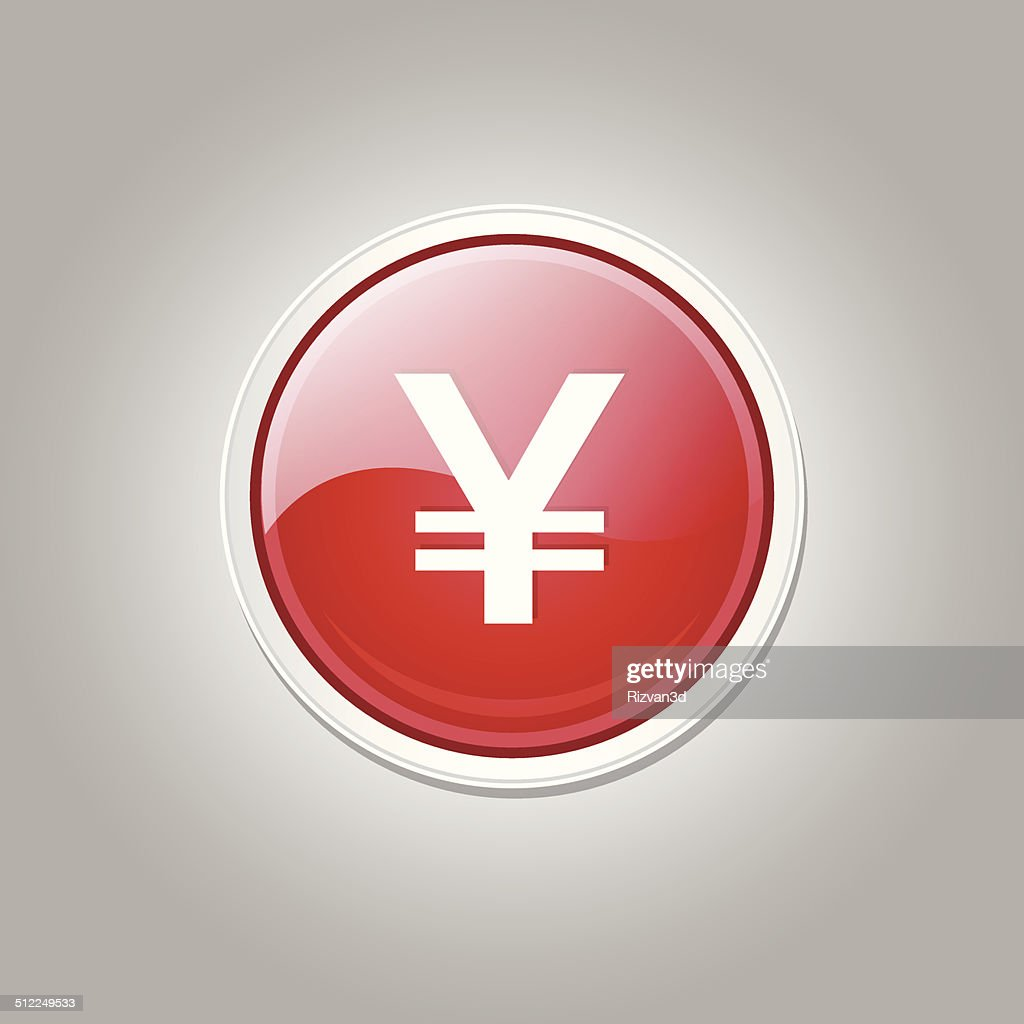 Yen Currency Sign Circular Vector Red Web Icon Button