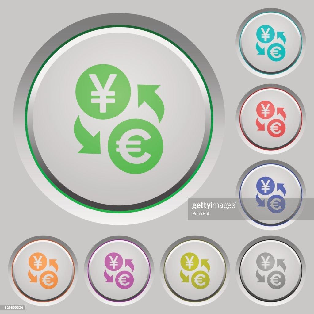 Yen Euro money exchange push buttons