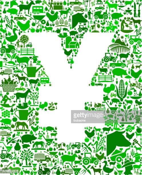 yen farming and agriculture green icon pattern - zea stock illustrations, clip art, cartoons, & icons
