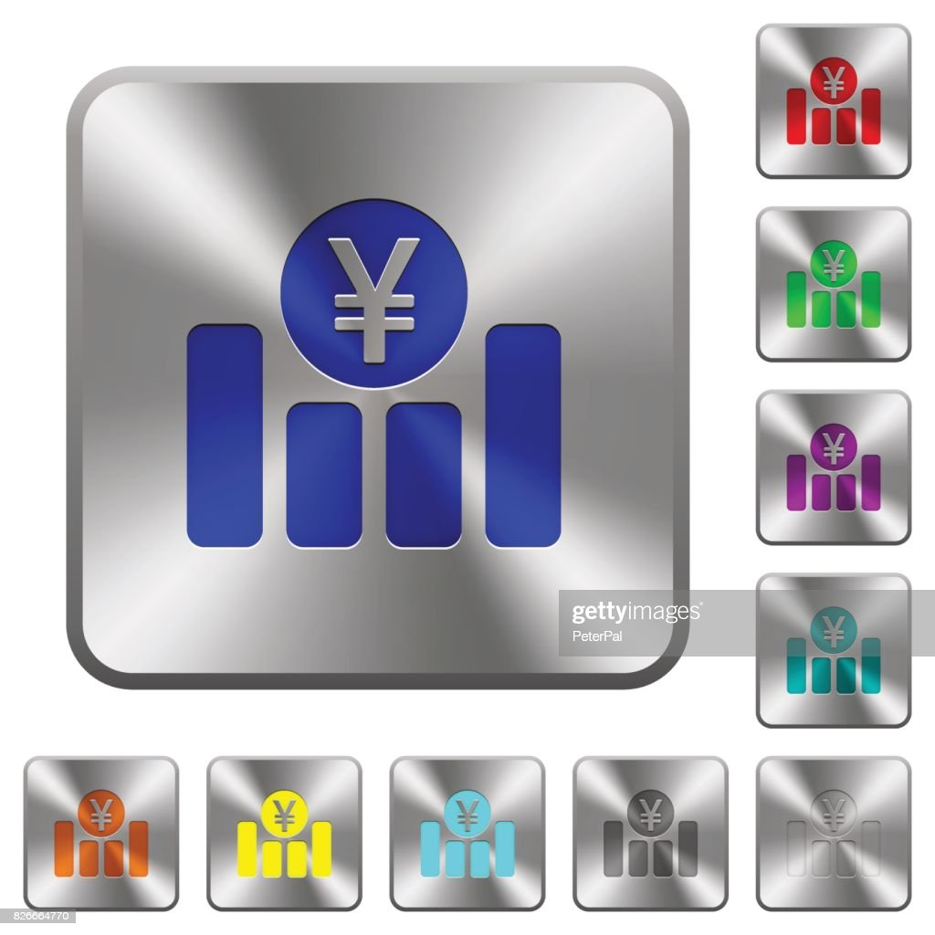 Yen financial graph rounded square steel buttons