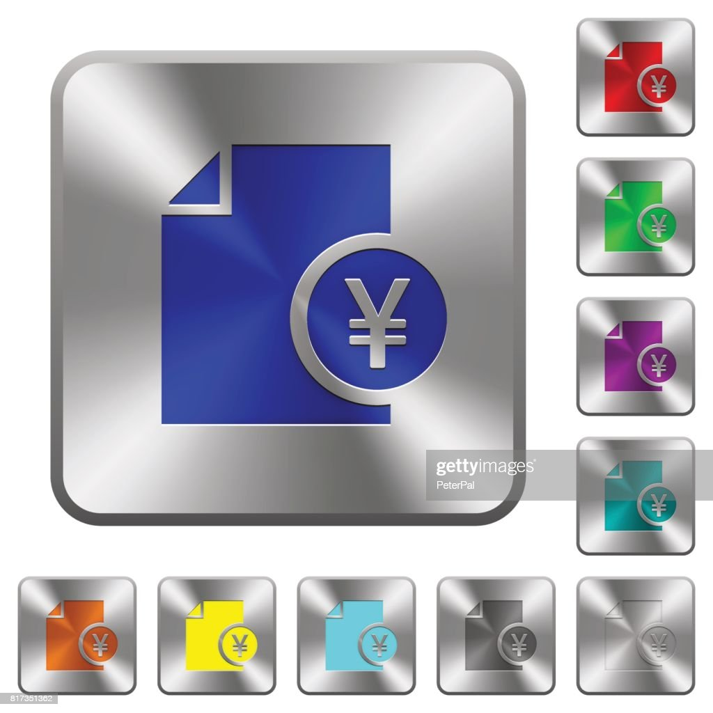 Yen financial report rounded square steel buttons