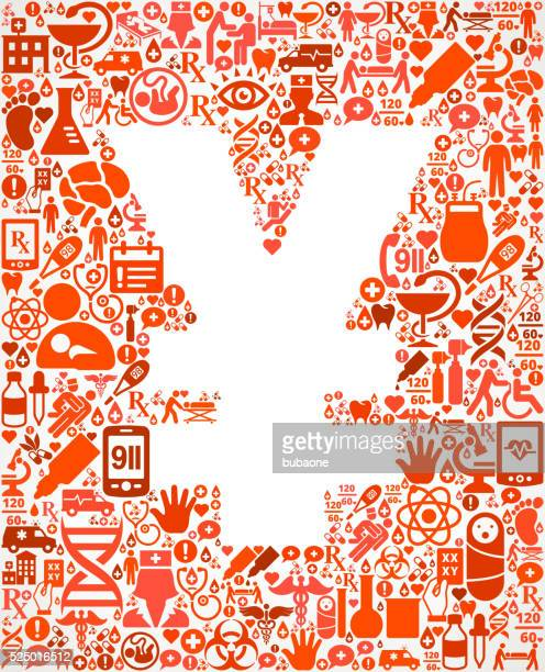 yen healthcare and medicine seamless icon pattern - cardiac conduction system stock illustrations