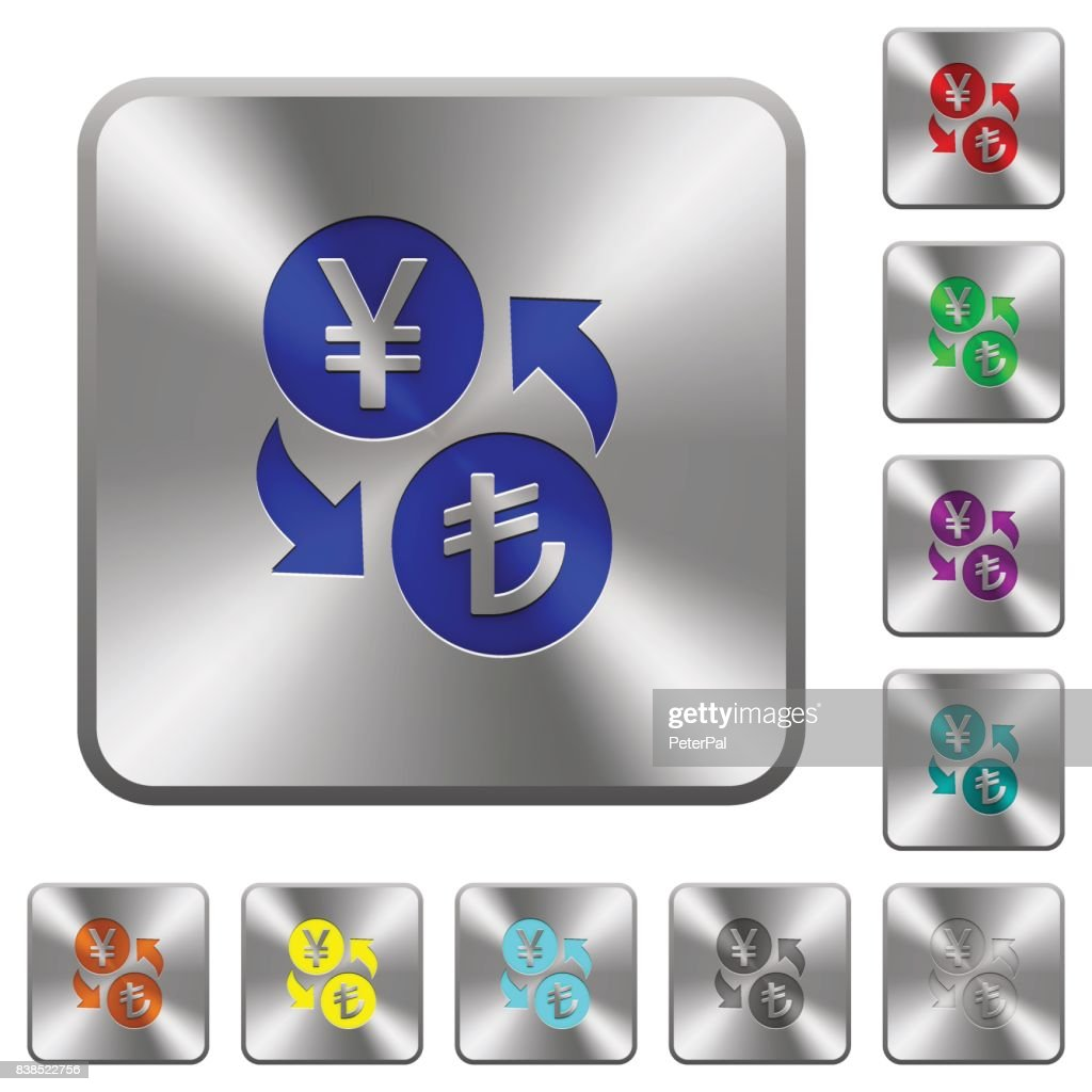 Yen Lira money exchange rounded square steel buttons