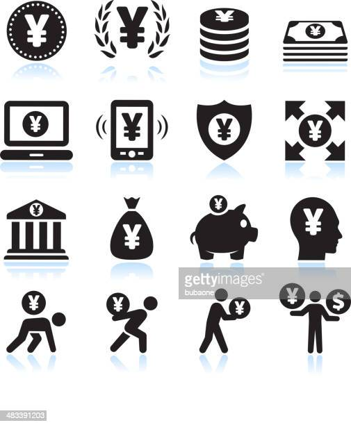 Yen Money and Finance Black & White vector icon set