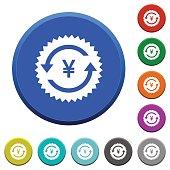 Yen pay back guarantee sticker beveled buttons