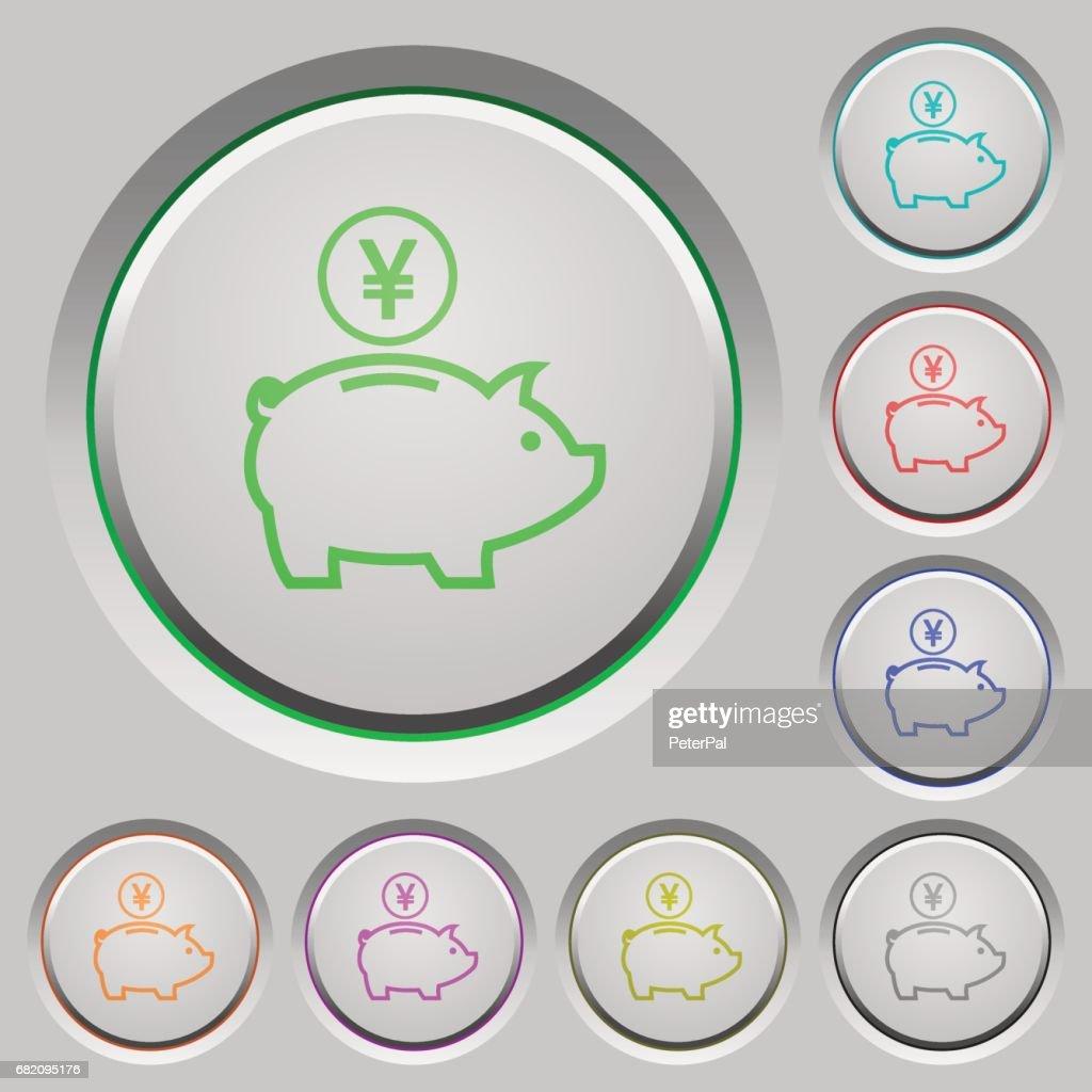 Yen piggy bank push buttons
