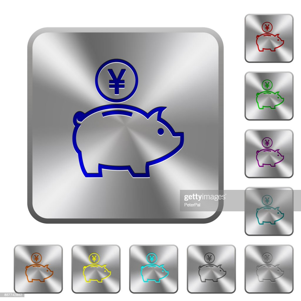Yen piggy bank rounded square steel buttons