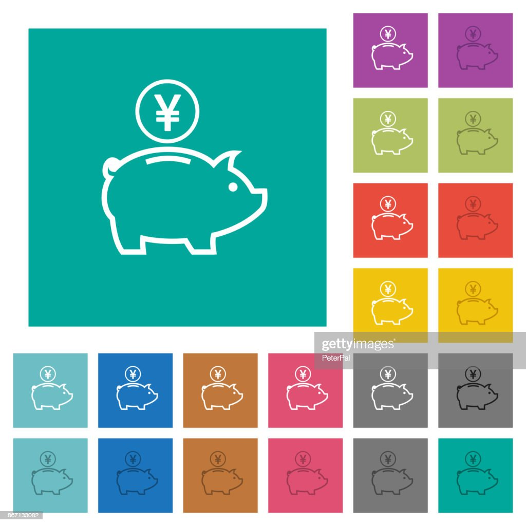 Yen piggy bank square flat multi colored icons